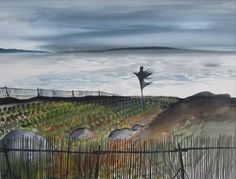 David Blackwood watercolour, Lumsden, Nfld. Cabbage Field, 1972, 19 X 25 inches