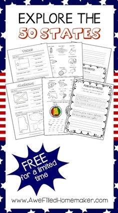 Explore the 50 States FREE Homeschooling Printable from Awe Filled Homemaker!
