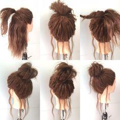 1.お団子を作りたい位置でサイド〜トップの毛を結びます。 2.バックの毛を先ほどの束と一緒に結びます。 3.毛束を2つに分け片っぽをネジります。 ゴムに巻きつける。 4.残りもネジって巻きつける。 5.全体を適度にほぐせば出来上がり。 おくれ毛がある方がヌケ感とこなれ感が出ますよー☆