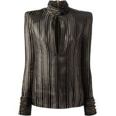 Balmain Long Sleeve Black & Gold Tone Striped Silk Shirt ($656) ❤ liked on Polyvore featuring tops, long sleeve button shirt, striped button-down shirts, silk shirt, striped long sleeve top and long sleeve shirts