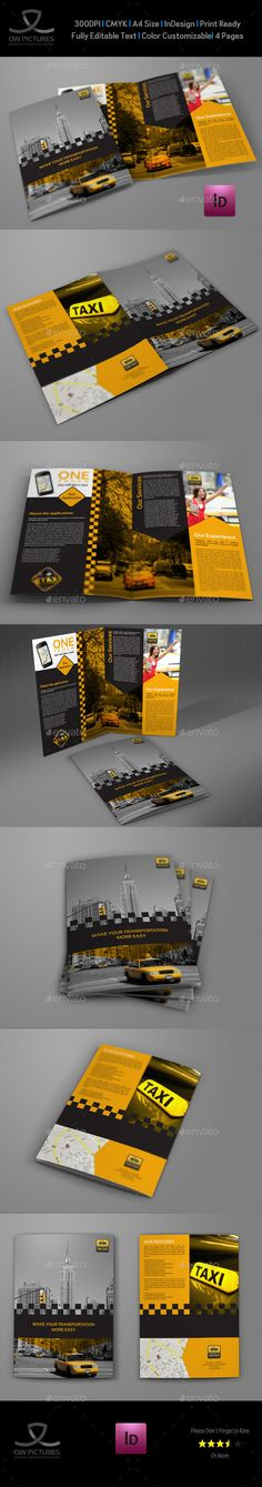 Taxi Services Bi-Fold Brochure Template #design Download: http://graphicriver.net/item/taxi-services-bifold-brochure-template/13041740?ref=ksioks