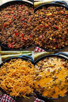Mexican Beef and Bean Skillet Rice Corn Bean Salsa, Cooking With Ground Beef, Beef And Rice, Canned Black Beans, One Pan Meals, Enchilada Sauce, Melted Cheese, Stuffed Peppers, Skillet