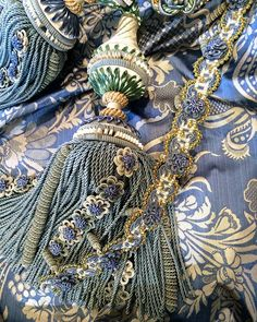 Bespoke Passementerie at Watts of Westminster - Beautiful Tieback and matching Trim goes just perfectly with our 'Catherine' fabric! Tassel Curtains, Velvet Curtains, Luxury Curtains, Pelmets, Textiles, Passementerie, Curtain Tie Backs, Fabulous Fabrics, Fringe Trim