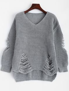 Sweaters & Cardigans   Deep gray Chunky Distressed Pullover Sweater - Gamiss