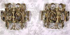 Rare Mid Century Gilt Crystal Design Hollywood Regency Sciolari Wall Sconce Pair