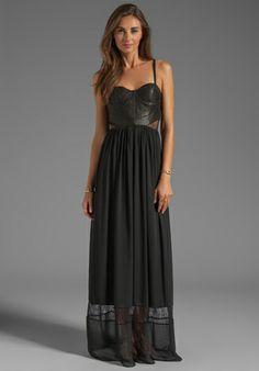 ALICE + OLIVIA Elis Leather Structured Bodice Dress in Black - Dresses $550 revolveclothing.com