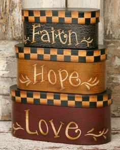 Faith Hope Love Stacking Boxes