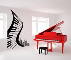 Stickerbrand Vinyl Wall Decal Sticker Peace Abstract Piano Tall x Wide (Black) Wall Decal Sticker, Wall Stickers, Wall Decor, Room Decor, Music Wall, King Bedding Sets, My New Room, Textured Walls, Wall Murals
