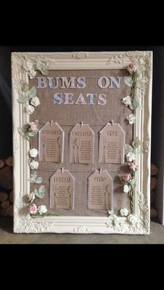 Wedding table plan - bums on seats' Marquee Decoration, Wedding Table Decorations, Wedding Centrepieces, Our Wedding Day, Diy Wedding, Wedding Ideas, Wedding 2015, Wedding Things, Wedding Reception