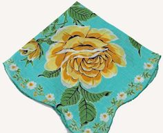 Vintage Hankie Big Beautiful Yellow Roses D8 by annswhimsey