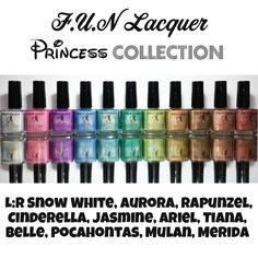 A series of holographic nail polish inspired by the Princess. The colors include white, pink, purple, blue, turquoise, light blue, green, gold, dark brown, light brown and bronze. Handmade nail polish from Singapore.