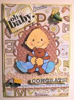 Adorable Handmade New Born Baby Boy Card by Beadlady5CardDesigns, $4.50