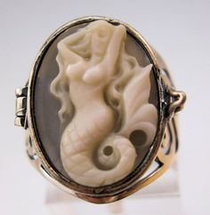 $119.00 Mermaid Cameo Poison Locket Ring Sterling Silver Hand Carved Shell Sz 7 Signed Vintage Jewelry Jewellery FREE SHIPPING by BrightEyesTreasures on Etsy