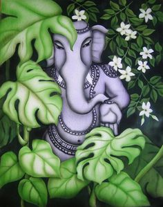 Ganesha with Jasmine flowers - by Vishwajyoti Mohrhoff