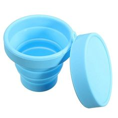 Hakkin beweglicher Silikon Faltbar Folding Cup Gargle Tasse Collapsible Travel Outdoor Sport (Blau)
