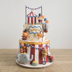 Ladies and gentlemen, the wonders of wonders, we present -- this Circus cake! While were not fans of real life circuses, Circus 1st Birthdays, Carnival Birthday, 1st Boy Birthday, Birthday Parties, Birthday Cakes, New Cake Design, Cake Designs For Boy, Circus Theme Cakes, Themed Cakes