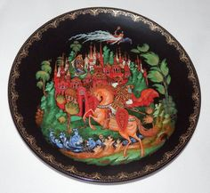 RUSSIAN LEGENDS PLATE Russian & Ludmilla 1st Plate Palekh Art Studios with COA