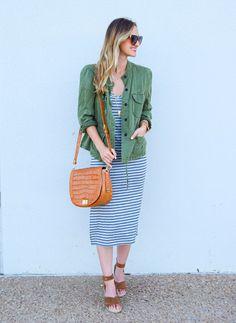 Striped Midi Dress & Brahmin Sonny Crossbody Handbag LivvyLand waysify