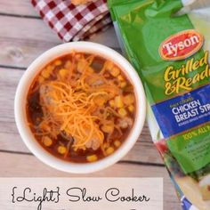 #ad Light & Easy Slow Cooker Chicken Enchilada Soup with #JustAddTyson - It Happens in a Blink