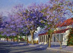 Roelof Rossouw Watercolor Landscape, Abstract Landscape, Landscape Architecture, Landscape Paintings, House Paintings, Oil Paintings, South Africa Art, Hamptons Style Homes, South African Artists