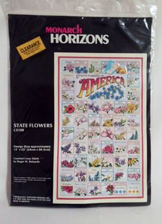 America State Flowers Cross Stitch Kit Sampler Monarch Horizons CS108 New in Package Vintage 1989