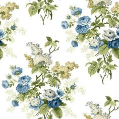 "York Wallcoverings Waverly Cottage Emma's Garden 33' x 20.5"" Floral Wallpaper…"