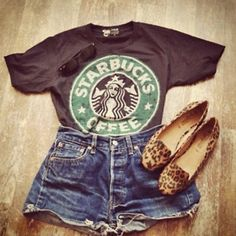 Great season changing outfit, but not the Starbucks top. Maybe just a different graphic tee! So cute...