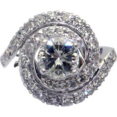 14k White Gold 1.87ct Round Brilliant Cut Diamond Cocktail Cluster Band Ring Swirl