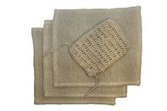 Bundle of 4 Items - Hemptique 100% Hemp Knitted Natural Hand Towel Set Includes 3 Dish Cloths