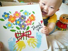 手形足型 Baby Crafts, Diy And Crafts, Crafts For Kids, Arts And Crafts, Japanese Babies, Grandparents Day Crafts, Daddy Birthday, Rainbow Birthday Party, Footprint Art