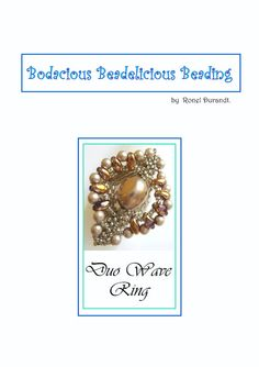 Oval shaped beaded ring with super duo beads and by Beadebonair, $7.50