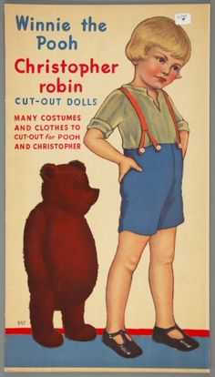 Winnie the Pooh and Christopher Robin Cut-Out Dolls    paper doll book    1935   	    Material	printed paper  Origin	New York