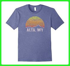 Mens Retro Alta Wyoming Mountain Sunset Winter T-Shirt 2XL Heather Blue - Retro shirts (*Amazon Partner-Link)