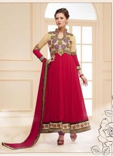 Red and Cream Faux Georgette Embroidered Designer Dress Material