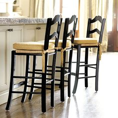 """LeMans Counter Stool, $139 Dimensions: Overall: 38 1/4""""H X 16 1/2""""W X 17""""D Seat: 24 1/2""""H X 16""""W X 14""""D Construction: Constructed of solid beechwood with a hand woven rush seat. Country of Origin: Vietnam"""