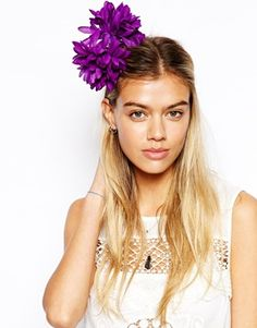 hair clip:  making a purple flower statement