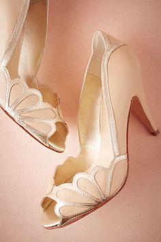 BHLDN Isabella Scalloped Heel in  Bride Bridal Shoes at BHLDN