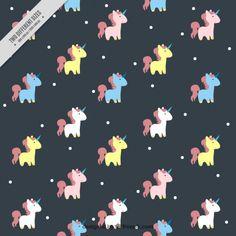 Patrón de tierno unicornio de colores Vector Gratis