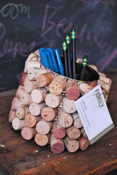 Cork pencil cup that doubles as a bulletin board of sorts…