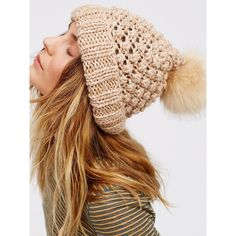 Hats ($48) ❤ liked on Polyvore featuring accessories, hats, foldable hat, pom beanie, free people hats, beanie cap hat and beanie cap