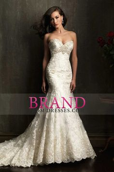 2014 Sweetheart Wedding Dress Trumpet Court Train Beaded Embellished With Applique USD 414.99 BPPC2YRPYE - BrandPromDresses.com