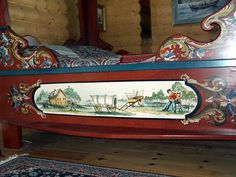 Rosemaled bed. A GREAT idea if I can't have my French bed I want... could cut out the top pieces of this and attach to boards and paint it making it Norwegian instead of French ~!~ Headboard could be high beadboard and this same scroll wood on top...now THAT might work ~!~