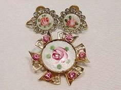 Vintage 1940s Guilloche Enamel w Rhinestones Painted Pink Roses Pin and Earrings