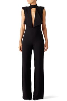 43a733261651 Rent Black Open Neck Jumpsuit by Misha Collection for  70 -  85 only at Rent  the
