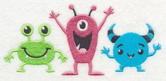 Monster Madness Trio Machine Embroidery Designs at Embroidery Library! -