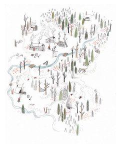 Illustrated map of Red Mountain Resort, Rossland, BC, 2011 - Sarah Burwash Street Art Graffiti, Landscape Illustration, Illustration Art, Mountain Illustration, Wow Art, Map Design, Art Inspo, Illustrators, How To Draw Hands