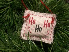 Rustic Cross Stitched Christmas Tree Ornament Ho by MomsCraftLoft, $4.00