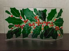 Fused glass Christmas holly wave