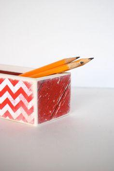 Red Chevron Pencil Box by Mmim on Etsy, $11.00