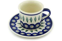 6 oz Cup with Saucer - Peacock